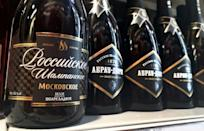 """Bottles of """"Russian champagne"""" on sale in Moscow"""