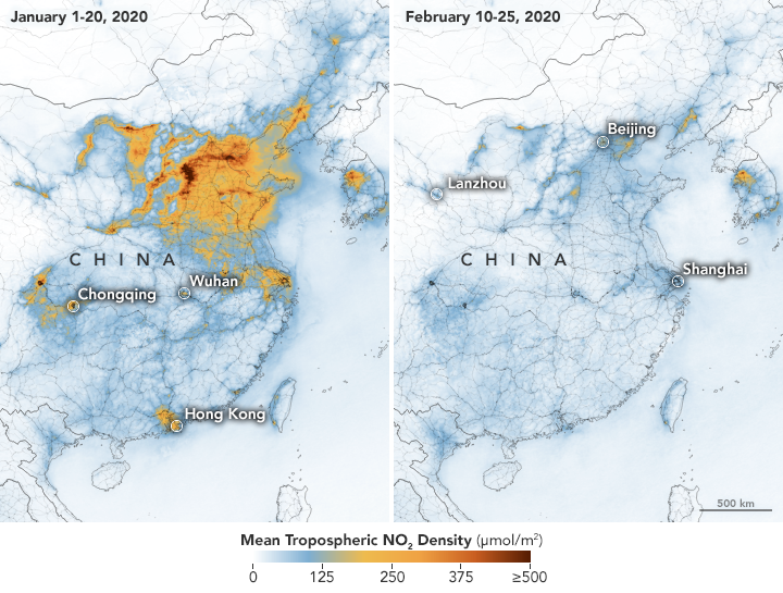 Two maps showing how the pollution above Beijing and Shanghai has cleared (Picture: Nasa/European Space Agency)