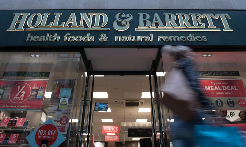 LONDON, ENGLAND -OCTOBER 11: A general view of a Holland and Barrett health food and natural remedies store on October 11, 2019 in London, England. (Photo by John Keeble/Getty Images)