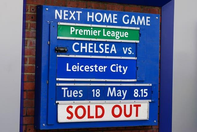 A sold-out sign at Chelsea's game against Leicester