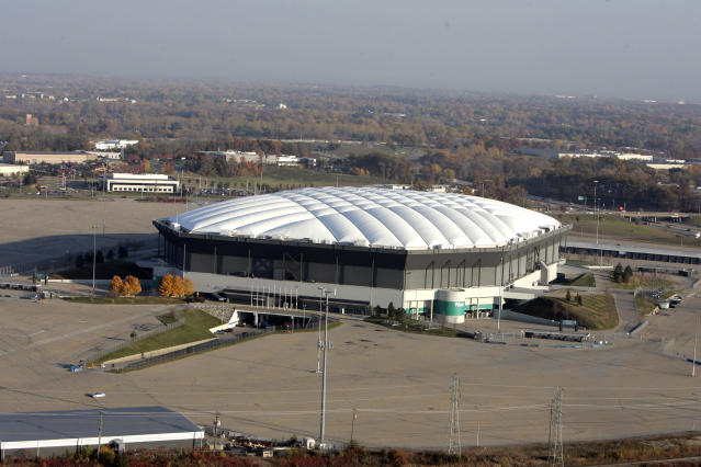 The Silverdome, shown in Pontiac, Mich., is seen in a Nov. 2, 2005 photo. The former home of the Detroit Lions will be sold at auction to the highest bidder _ regardless of the price. (AP Photo/Paul Sancya)