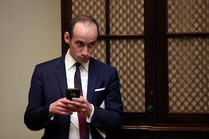 Stephen Miller attends a meeting between President Trump and congressional leaders at the White House, Feb. 2, 2017. (Carlos Barria/Reuters)