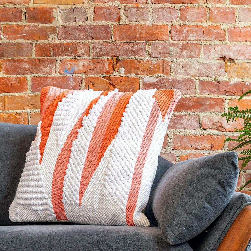 """<br><br><strong>Refinery29</strong> Stevie Collection 100% Cotton Luxury Decorative Pillows, $, available at <a href=""""https://www.amazon.com/Refinery29-Collection-Decorative-Textured-Pillows/dp/B0831D9FZY"""" rel=""""nofollow noopener"""" target=""""_blank"""" data-ylk=""""slk:Amazon"""" class=""""link rapid-noclick-resp"""">Amazon</a>"""