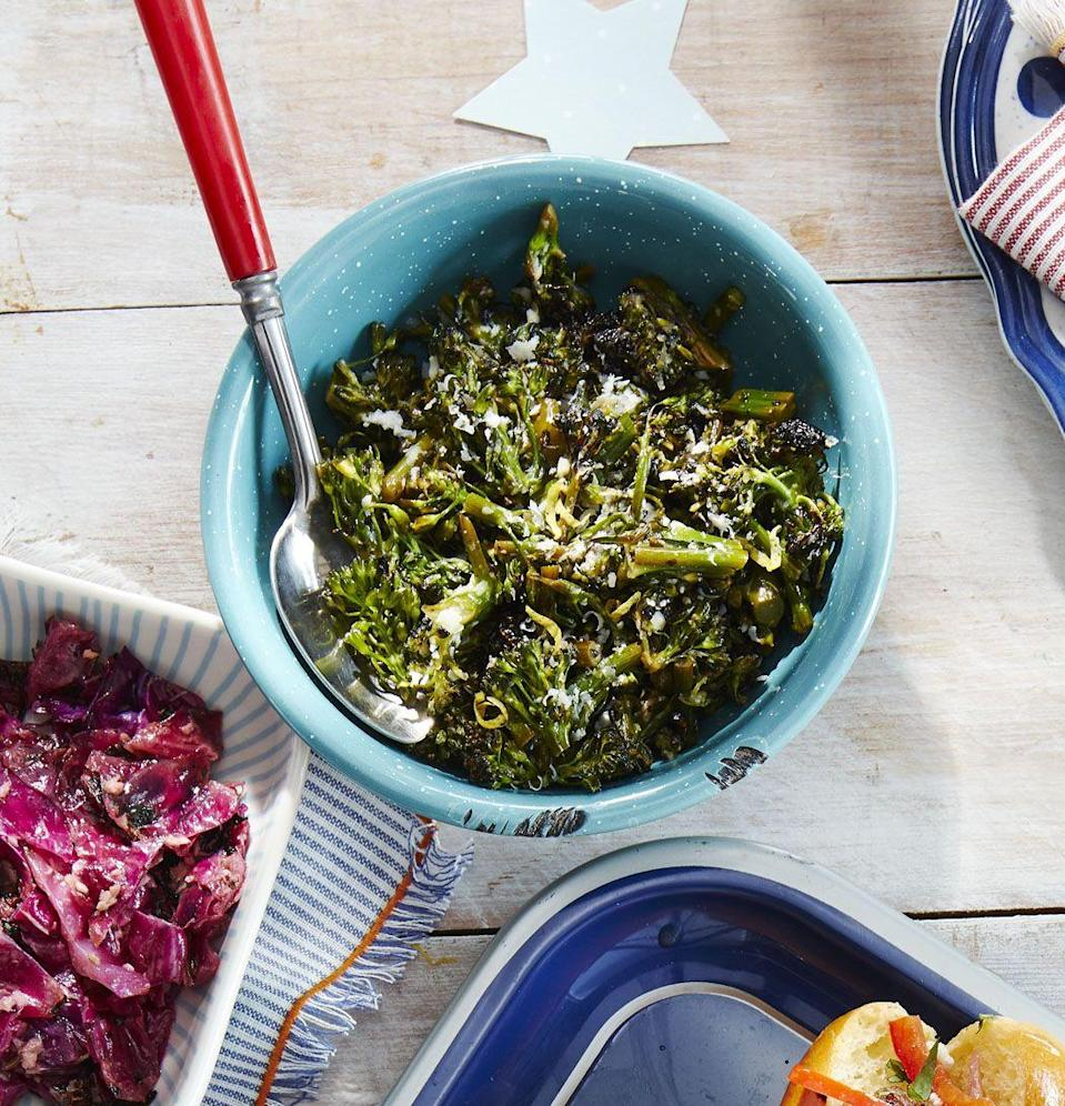 """<p>Meats aren't the only grilled dishes you should be serving. Top off this charred side with a sprinkle of Parmesan cheese.</p><p><strong><a href=""""https://www.countryliving.com/food-drinks/a28195723/grilled-lemon-broccolini-recipe/"""" rel=""""nofollow noopener"""" target=""""_blank"""" data-ylk=""""slk:Get the recipe"""" class=""""link rapid-noclick-resp"""">Get the recipe</a></strong><strong>.</strong> </p>"""