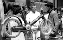 """<a href=""""http://movies.yahoo.com/movie/the-bicycle-thief/"""" data-ylk=""""slk:THE BICYCLE THIEF"""" class=""""link rapid-noclick-resp"""">THE BICYCLE THIEF</a> (1948) <br>Directed by: <span>Vittorio De Sica</span> <br>Starring: <span>Lamberto Maggiorani</span>, <span>Enzo Staiola</span> and <span>Elena Altieri</span>"""