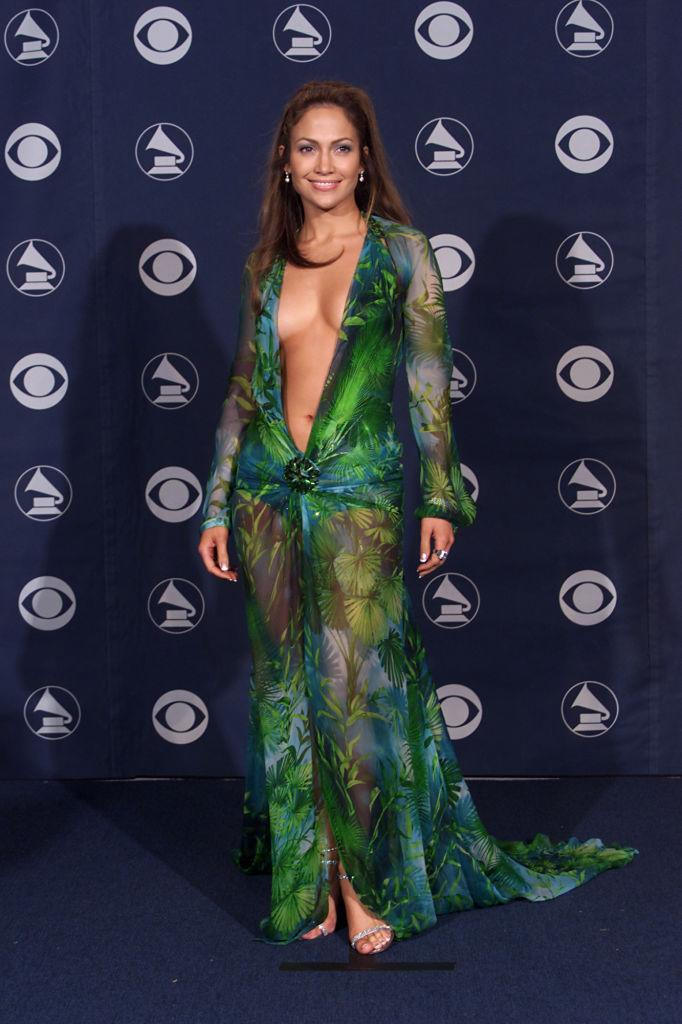 Jennifer Lopez wears the iconic green Versace gown at the 42nd Annual Grammy Awards on Feb. 23, 2000, at Staples Center in L.A. (Photo: Scott Gries/ImageDirect)