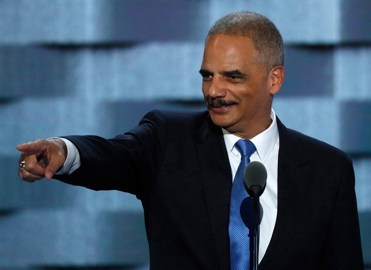 FILE PHOTO --  Former U.S. Attorney General Eric Holder speaks during the second day at the Democratic National Convention in Philadelphia, Pennsylvania, U.S. July 26, 2016. REUTERS/Mike Segar/File Photo