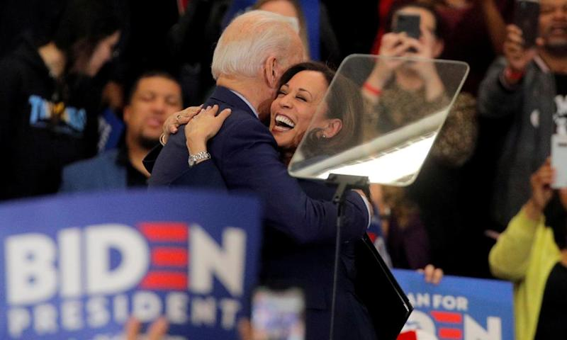 Kamla Harris greets Joe Biden during a campaign stop in Detroit, Michigan, on 9 March.