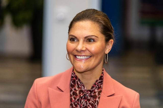 Crown Princess Victoria has appeared in a glamorous shoot to mark her 10 year wedding anniversary, pictures here in February 2020. (Getty Images)