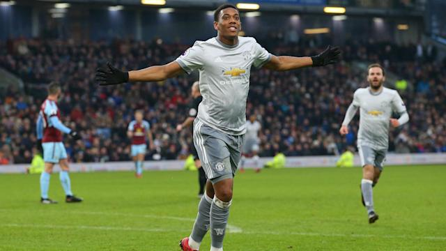Manchester United laboured to a 1-0 win away to Burnley to put pressure on Manchester City, with Anthony Martial scoring the only goal.