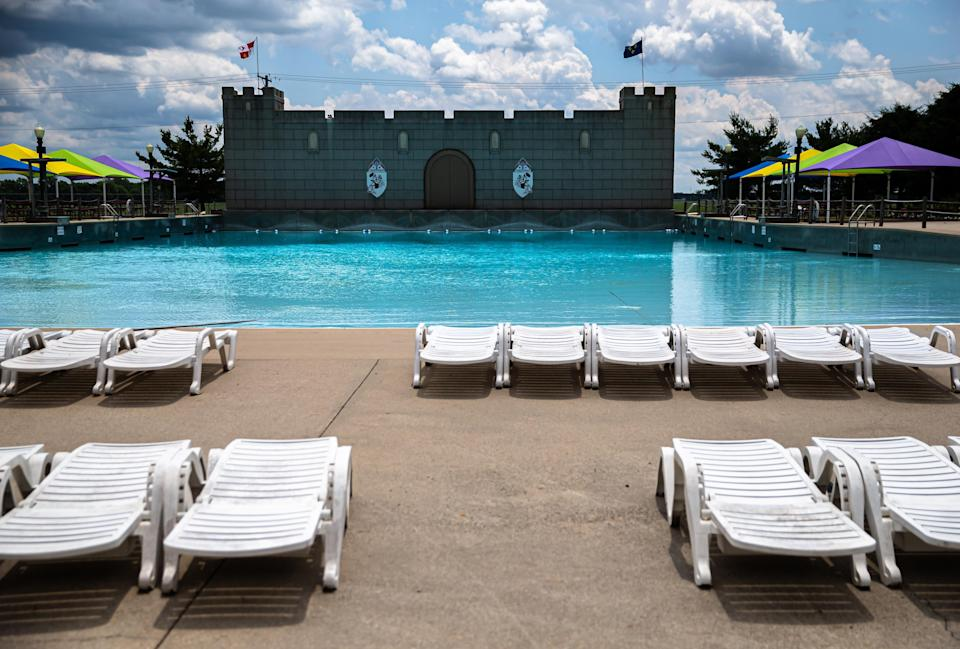 Deck chairs are set up and ready for groups of patrons to keep them separated at the front of the wave pool at Knights Action Park on June 23, 2020, in Springfield, Ill. Knights Action Park plans to open at 10:30 a.m. Friday with admission at 50% capacity as Illinois moves into Phase 4 during the COVID-19 pandemic.