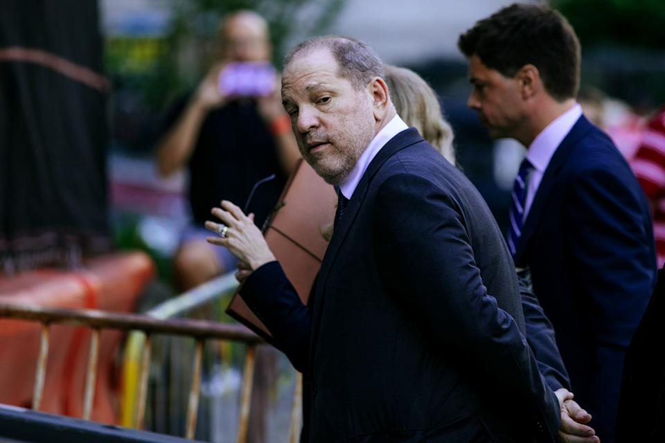 NEW YORK, NY - JULY 11: Harvey Weinstein arrives for his appearance in criminal court on July 11, 2019 in New York City. Weinstein is facing rape and sexual assault charges from two separate incidents. (Photo by Kevin Hagen/Getty Images)