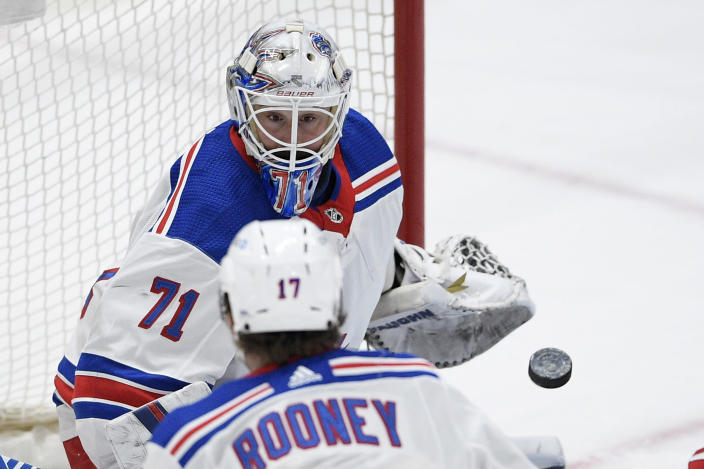 New York Rangers goaltender Keith Kinkaid (71) watches the puck during the first period of an NHL hockey game against the Washington Capitals, Sunday, March 28, 2021, in Washington. (AP Photo/Nick Wass)