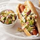 "<p>These days, your hot dog can be more than the ketchup-and-mustard variety. Try this turkey hot dog, topped with a cucumber and avocado slaw. The creamy slaw is made with low-fat yogurt and gets a slight kick from sweet pickle relish and lime juice--a welcome change from plain old sauerkraut! <a href=""http://www.eatingwell.com/recipe/267460/hot-dog-with-cucumber-avocado-slaw/"" rel=""nofollow noopener"" target=""_blank"" data-ylk=""slk:View recipe"" class=""link rapid-noclick-resp""> View recipe </a></p>"
