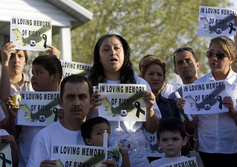FILE - In this May 5, 2013, file photo, Johana Portillo-Lopez, daughter of Ricardo Portillo speaks about her father's death during a news conference in Salt Lake City. A Utah prosecutor said Monday, May 6, he plans to decide soon what charges to file against a teenager accused of punching Portillo, a soccer referee who later died after slipping into a weeklong coma. (AP Photo/The Salt Lake Tribune, Kim Raff, File)