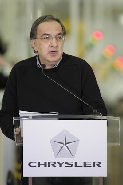 Chrysler Group LLC Chairman and CEO Sergio Marchionne announces a $374 million investment in two Indiana plants at an investment and jobs announcement event at the Chrysler transmission plat in Kokomo, Ind., Thursday, Feb. 28, 2013. Chrysler said Thursday it will invest nearly $400 million and create 1,250 new jobs at transmission and metal casting factories in the Kokomo area. (AP Photo/AJ Mast)