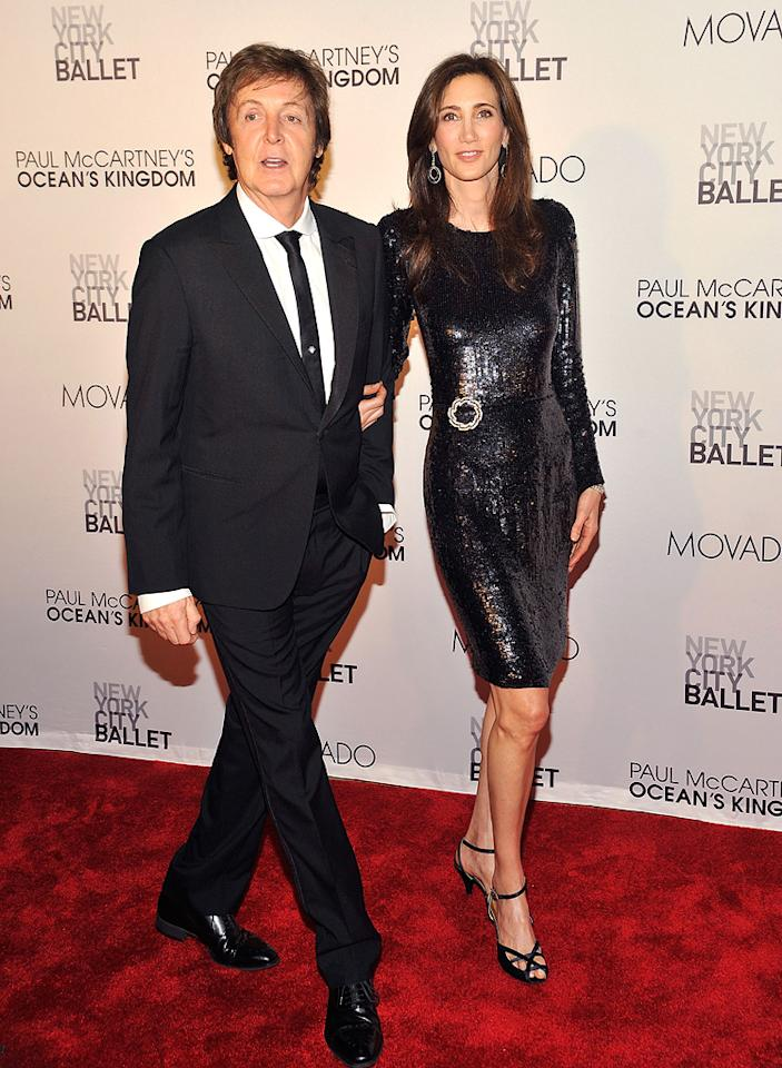 """Fellow musician Paul McCartney was also on hand. The former Beatle donned a sharp suit, while his soon-to-be wife, Nancy Shevell, sparkled in a sequined frock. Gary Gershoff/<a href=""""http://www.wireimage.com"""" target=""""new"""">WireImage.com</a> - September 22, 2011"""