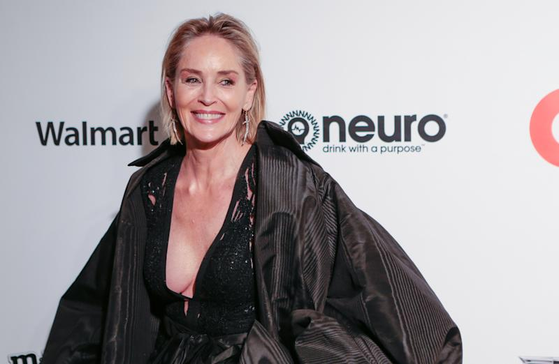 Sharon Stone attending the Elton John AIDS Foundation Viewing Party held at West Hollywood Park, Los Angeles, California, USA. (Photo by PA/PA Images via Getty Images)