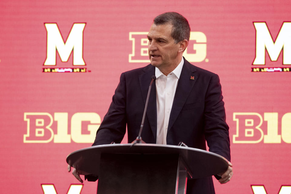 Maryland men's head coach Mark Turgeon addresses the media during the first day of the Big Ten NCAA college basketball media days, Thursday, Oct. 7, 2021, in Indianapolis. (AP Photo/Doug McSchooler)