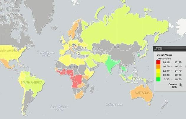 Target map of different erect penis sizes around the world