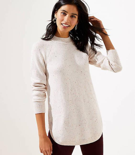 Spice up a cream sweater with flecks of color. (Photo: Loft)