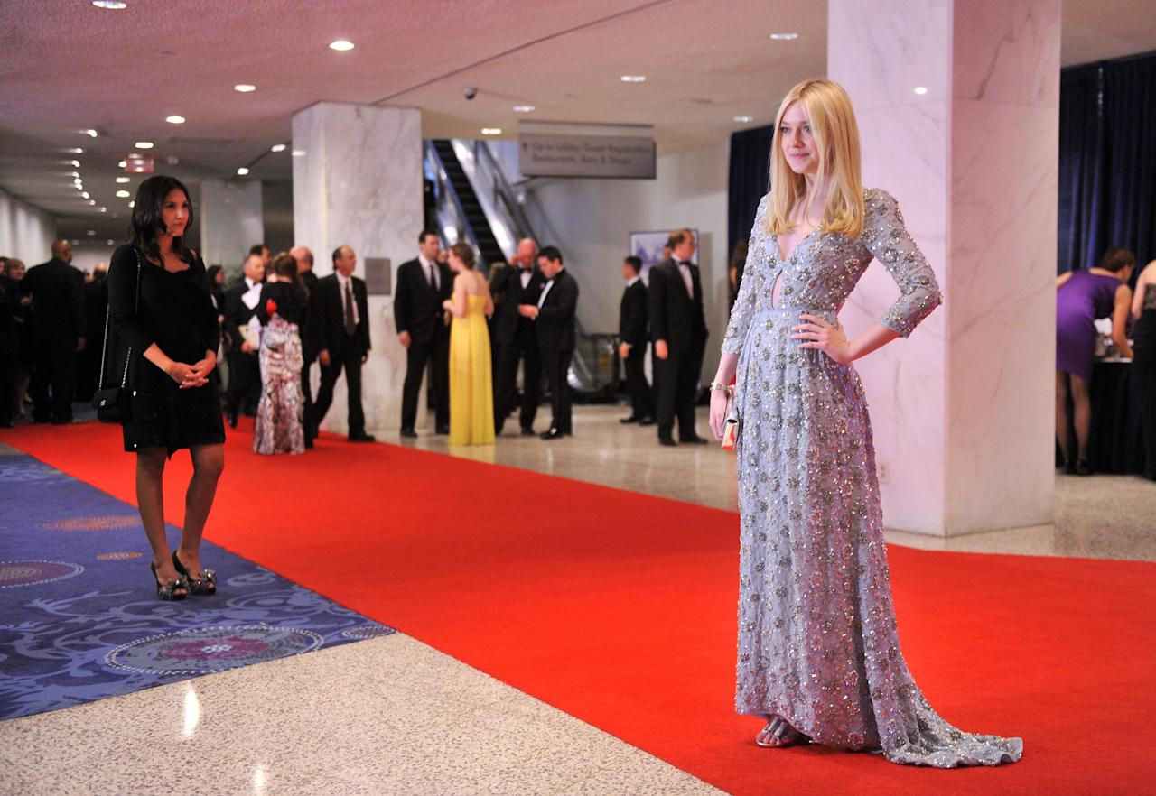 WASHINGTON, DC - APRIL 28:  Actress Dakota Fanning attends the 98th Annual White House Correspondents' Association Dinner at the Washington Hilton on April 28, 2012 in Washington, DC.  (Photo by Stephen Lovekin/Getty Images)