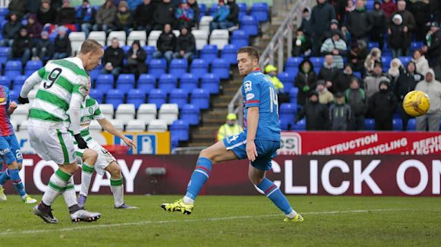 "Football Soccer - Inverness Caledonian Thistle v Celtic - Ladbrokes Scottish Premiership - Tulloch Caledonian Stadium - 29/11/15 Leigh Griffiths scores the second goal for Celtic Action Images via Reuters / Graham Stuart Livepic EDITORIAL USE ONLY. No use with unauthorized audio, video, data, fixture lists, club/league logos or ""live"" services. Online in-match use limited to 45 images, no video emulation. No use in betting, games or single club/league/player publications. Please contact your account representative for further details."