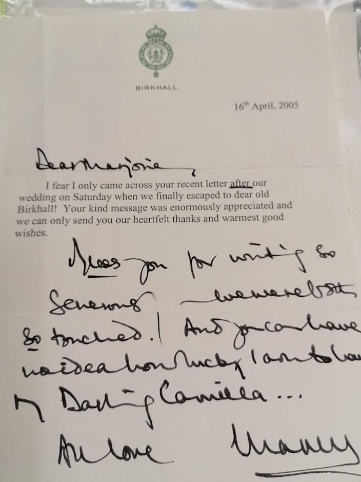 A letter from the Prince of Wales to Marjorie Dawson after his wedding to the Duchess of Cornwall, in which he refers to his 'Darling Camilla'. (PA)