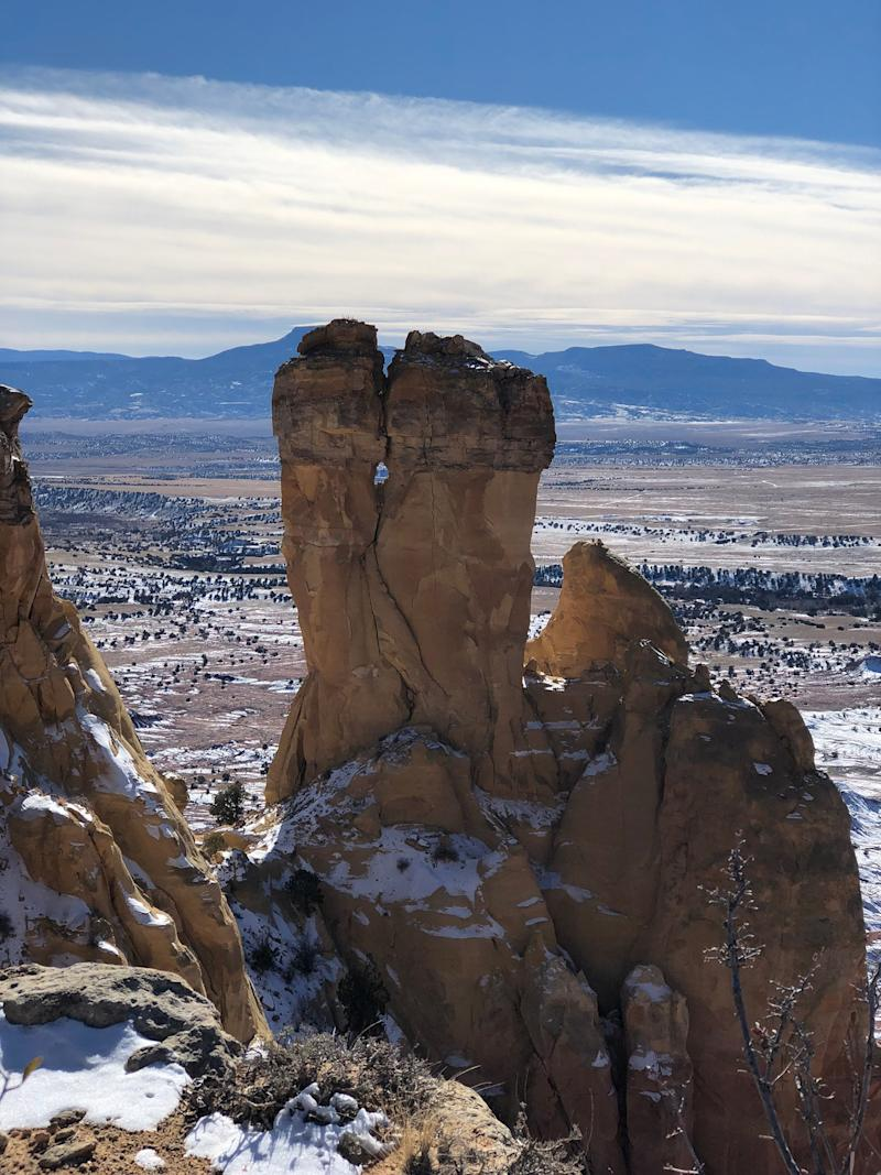 The view of our 3-hour trek to Chimney Rock, at the peak of Ghost Ranch.