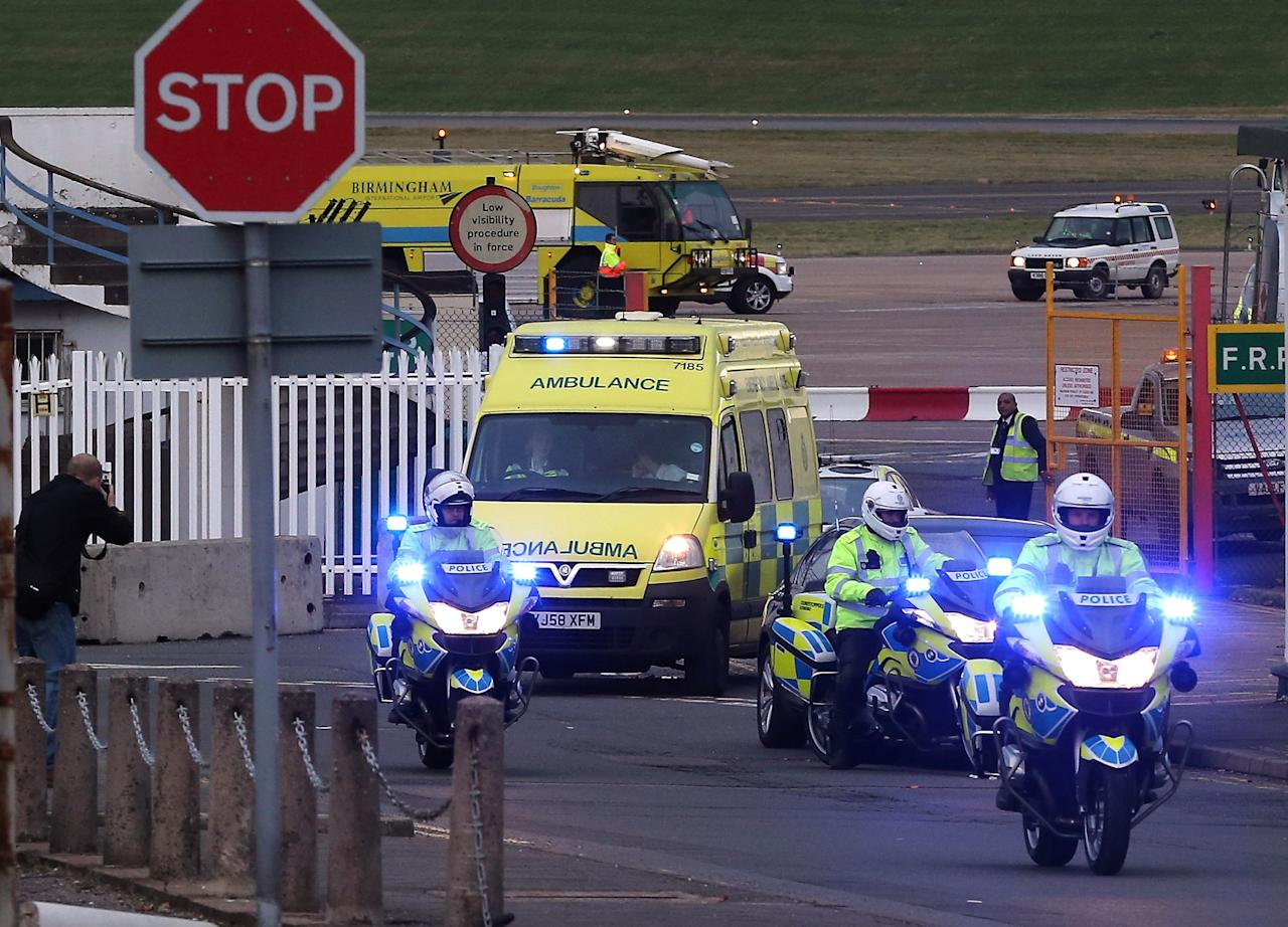 """BIRMINGHAM, ENGLAND - OCTOBER 15:  Pakistani fourteen-year-old Malala Yousafza, who was shot in the head by the Taliban for campaigning for the right to education, leaves Birmingham Airport for transfer to the Queen Elizabeth Hospital on October 15, 2012 in Birmingham, England. Malala will be treated at Birmingham's Queen Elizabeth Hospital which specialises major trauma care. The school girl is in a serious condition after the gun attack last week by the Taliban, who said they shot her because she was """"promoting secularism"""".  (Photo by Christopher Furlong/Getty Images)"""