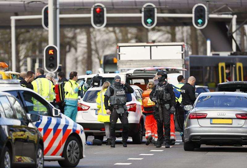 Emergency services at the scene of the shooting in Utrecht, the Netherlands (Picture: Getty)