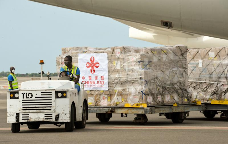 ADDIS ABABA, April 7, 2020 -- A staff member unloads Chinese medical supplies from an airplane at the Kotota International Airport in Accra, capital of Ghana, April 6, 2020. (Photo by Xu Zheng/Xinhua via Getty) (Xinhua/Xu Zheng via Getty Images)