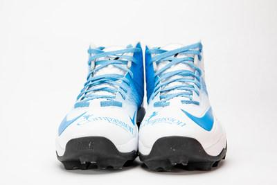 Front view of Nate Solder's cleats for the NFL's My Cause My Cleats campaign. Courtesy: Compassion International