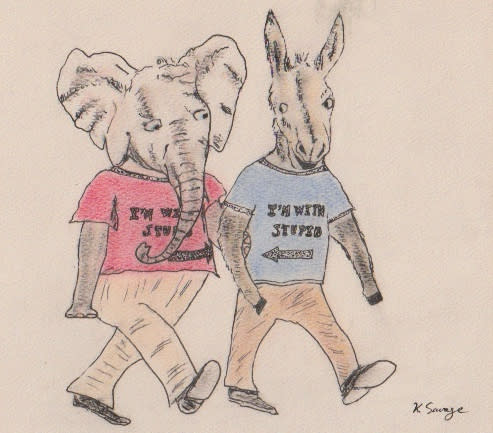 """Elephant and donkey holding hands, each wearing """"I'm with stupid"""" t-shirts / Kelly Savage"""
