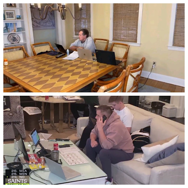 Bill Belichick flew solo at his kitchen table, while Sean Payton made draft day a family affair. (NFL via Getty Images)