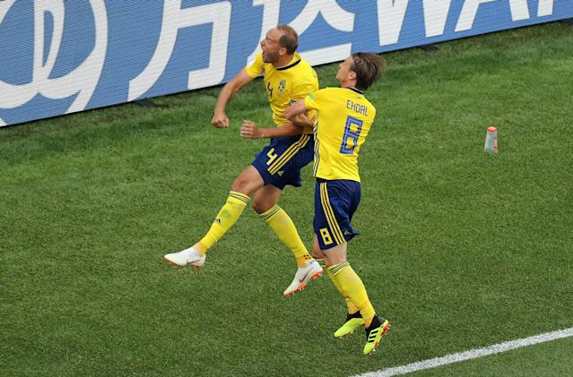 Soccer Football - World Cup - Group F - Sweden vs South Korea - Nizhny Novgorod Stadium, Nizhny Novgorod, Russia - June 18, 2018 Sweden's Andreas Granqvist celebrates scoring their first goal with Albin Ekdal REUTERS/Lucy Nicholson