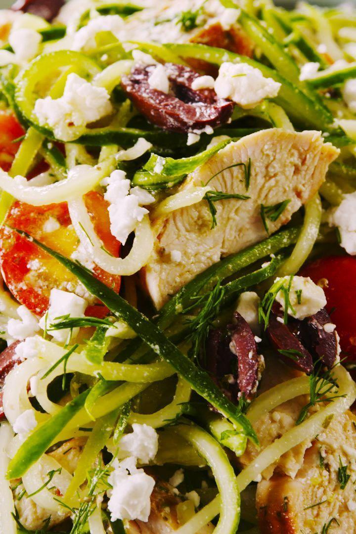 """<p>We're calling it: Cucumber noodles are the new courgetti. We love them even more because they're super refreshing and you don't have to cook them at all. If you don't have a spiralizer (or even if you do!), we highly recommend using a julienne peeler to make the spaghetti-like noodles. It's pretty cheap to buy and way easier to use. </p><p>Get the <a href=""""https://www.delish.com/uk/cooking/recipes/a33061526/greek-cucumber-noodle-salad-recipe/"""" rel=""""nofollow noopener"""" target=""""_blank"""" data-ylk=""""slk:Greek Cucumber Noodle Salad"""" class=""""link rapid-noclick-resp"""">Greek Cucumber Noodle Salad</a> recipe.</p>"""