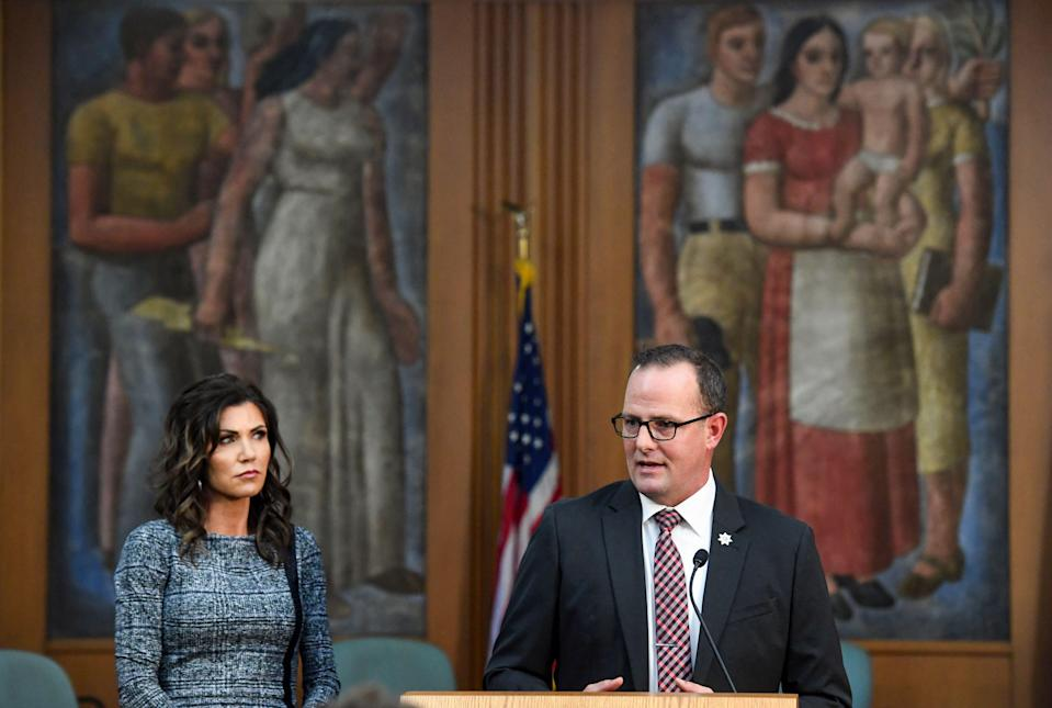 Governor Kristi Noem and Public Safety Secretary Craig Price give an update on the investigation of the Saturday Sept. 12 crash involving Attorney General Jason Ravnsborg on Tuesday, October 13, at City Hall in Sioux Falls.