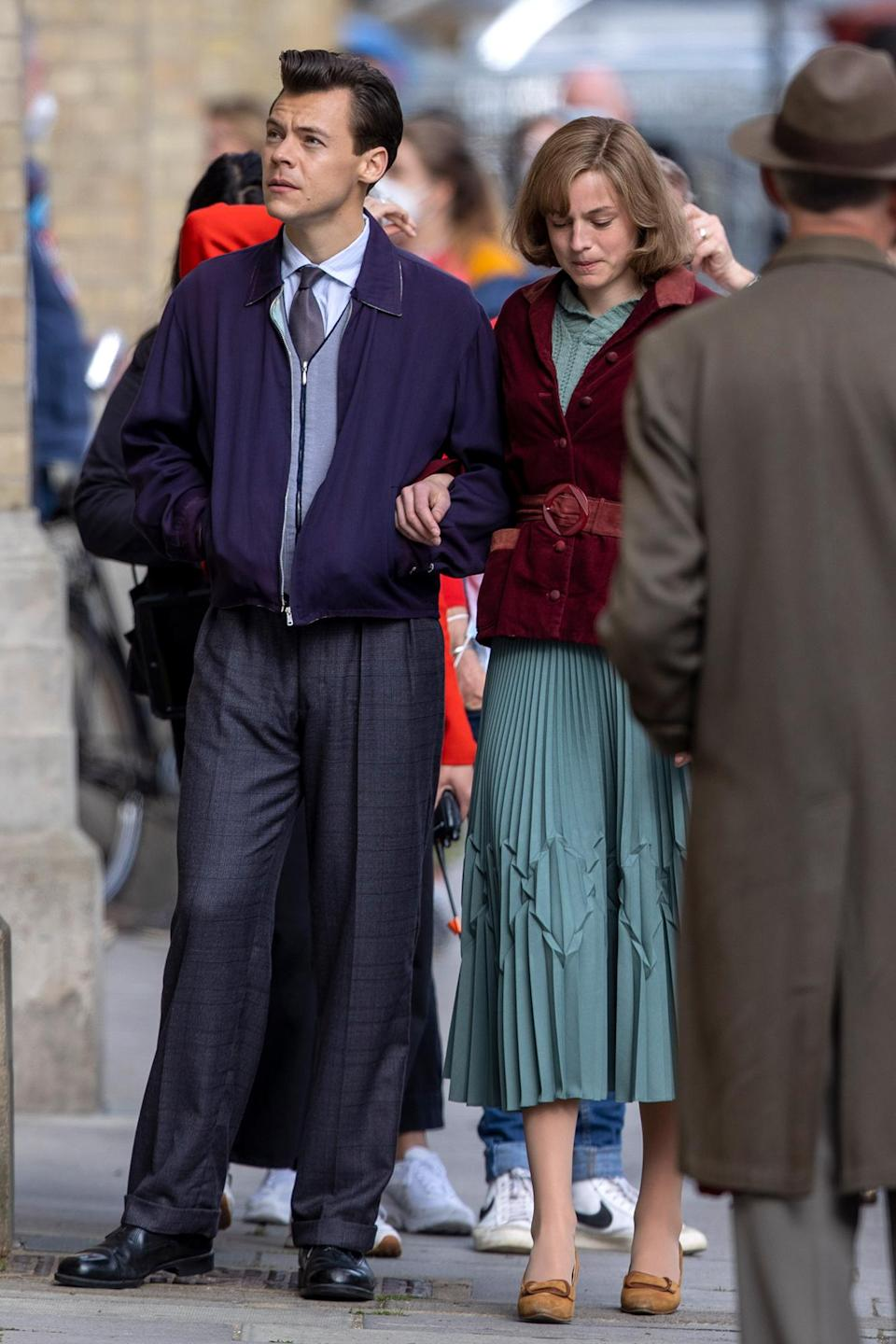 <p>Costars Harry Styles and Emma Corrin were busy on set in Brighton, England, filming <em>My Policeman</em>.</p>