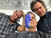 """<p>Brolin preps for work on June 28, writing: """"insanity on the brink. Face is morphing into something machine, fierce, hair sliced, arm machined, bulged. Where is Deadpool?!? Looking. Looking. All I got are these two…molding me, prodding, turning me into something hard."""" (Photo: <a href=""""https://www.instagram.com/p/BV5Bcbiho9Z/"""" rel=""""nofollow noopener"""" target=""""_blank"""" data-ylk=""""slk:joshbrolin/Instagram"""" class=""""link rapid-noclick-resp"""">joshbrolin/Instagram</a>) </p>"""