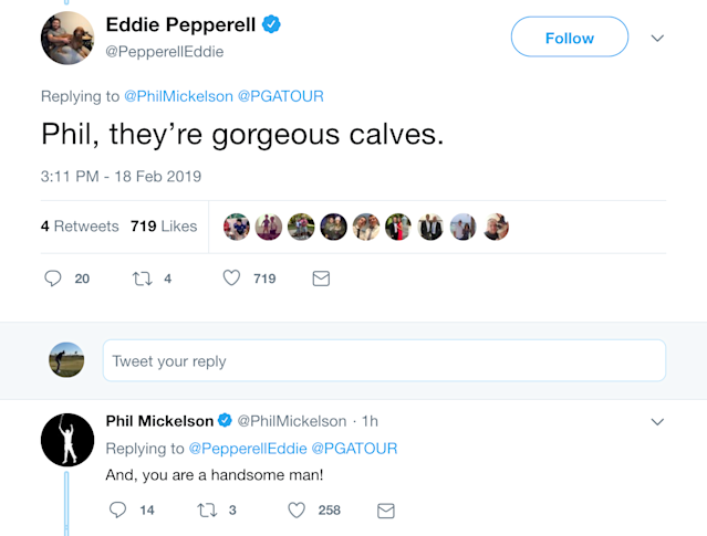 "<div class=""caption""> Phil even responded to Eddie Pepperell's compliment. </div>"