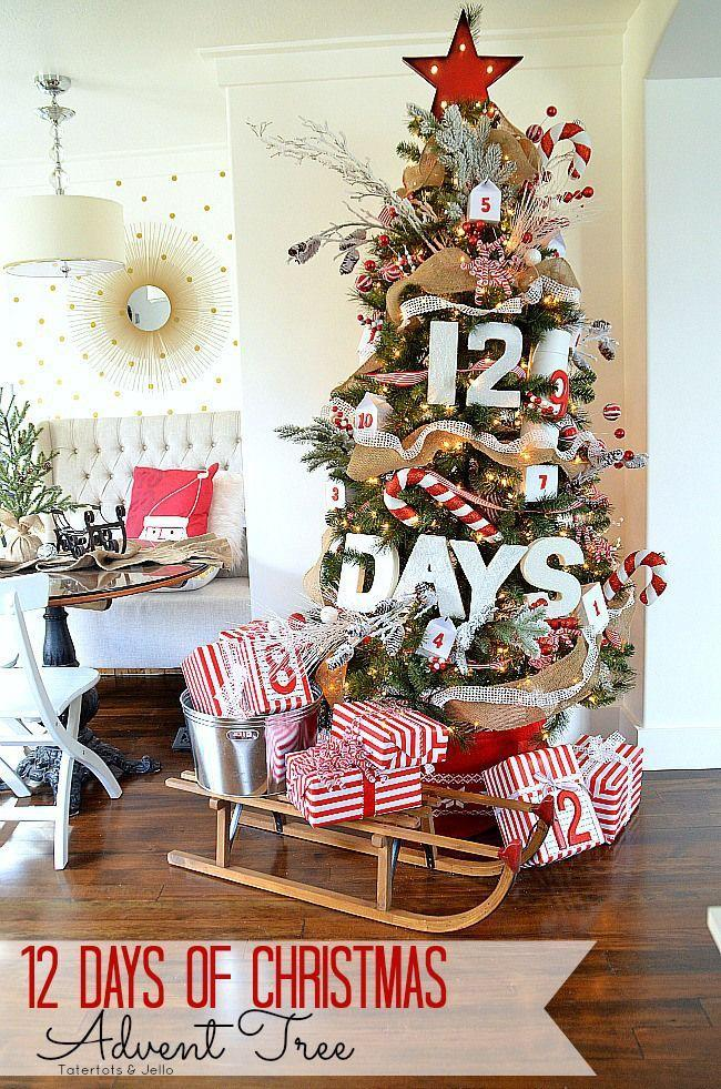 """<p>A spin on the traditional Advent calendar, this Christmas tree is a bold, colorful way to count down the days until the holiday. </p><p><em><a href=""""http://tatertotsandjello.com/2014/11/12-days-christmas-advent-tree.html"""" rel=""""nofollow noopener"""" target=""""_blank"""" data-ylk=""""slk:See more at Tatertots & Jello »"""" class=""""link rapid-noclick-resp"""">See more at Tatertots & Jello »</a></em><br></p>"""
