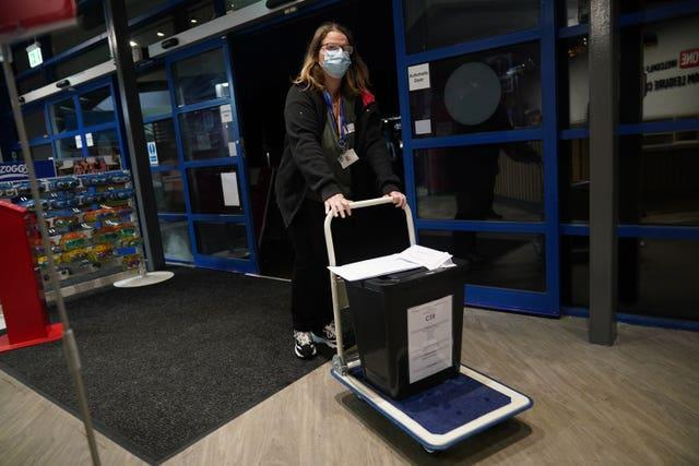 Ballot boxes arrive for the count of votes in the Chesham and Amersham by-election at Chesham Leisure Centre