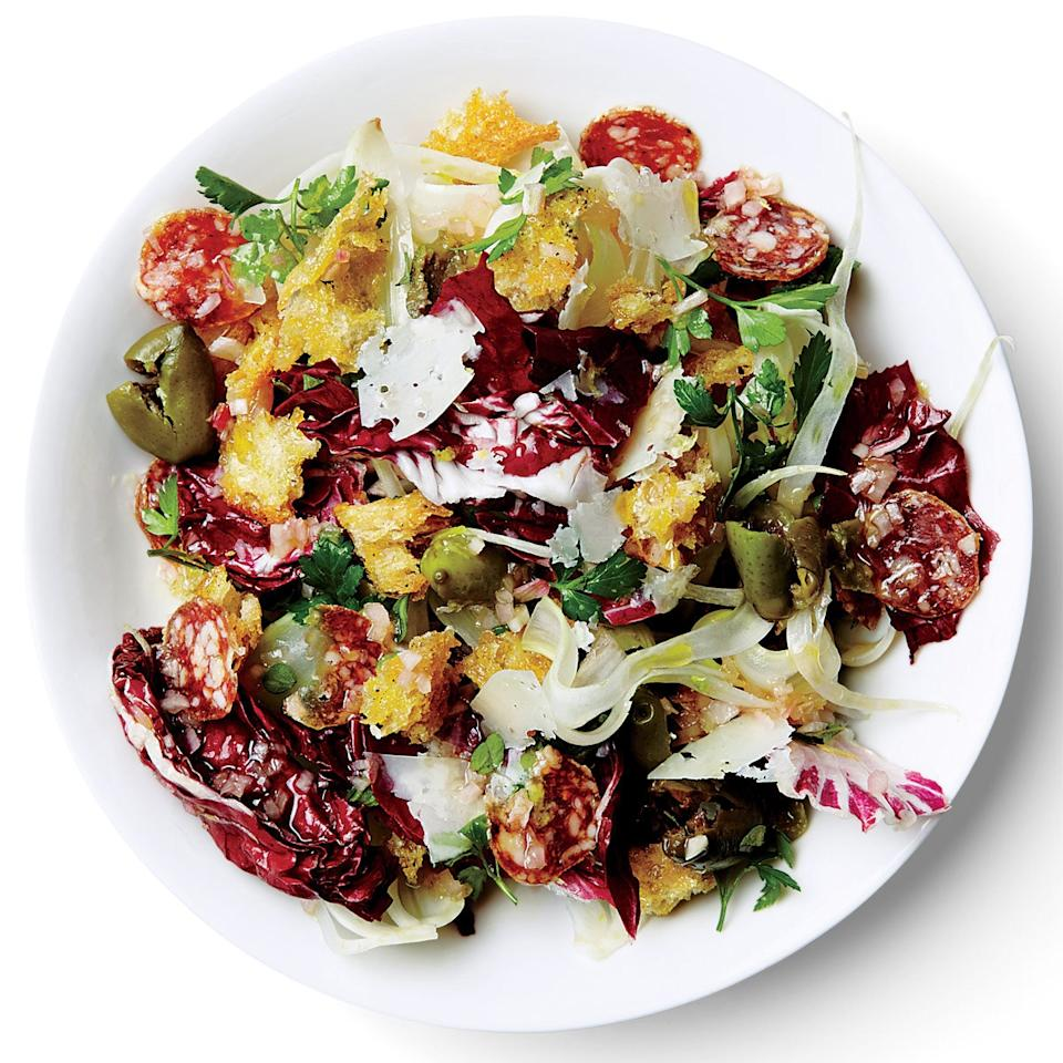 """Hearty greens like radicchio and shaved fennel give this panzanella plenty of crunch and a slight bitterness, while salami adds a salty, fatty bite. <a href=""""https://www.epicurious.com/recipes/food/views/radicchio-fennel-and-olive-panzanella-51232210?mbid=synd_yahoo_rss"""">See recipe.</a>"""