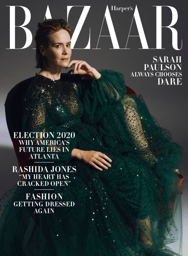 "Sarah Paulson on the October 2020 cover of ""Harper's Bazaar."""