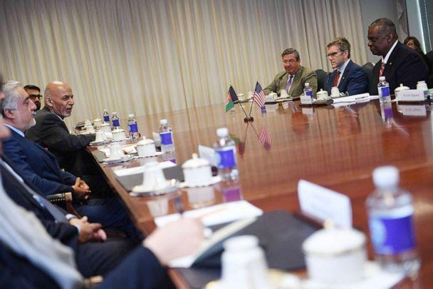 PHOTO: Afghan President Ashraf Ghani and Afghan Chairman of the High Council for National Reconciliation, Dr Abdullah Abdullah participate in a meeting with Secretary of Defense Lloyd Austin at the Pentagon in Arlington, Va., June 25, 2021. (Eric Baradat/AFP via Getty Images)