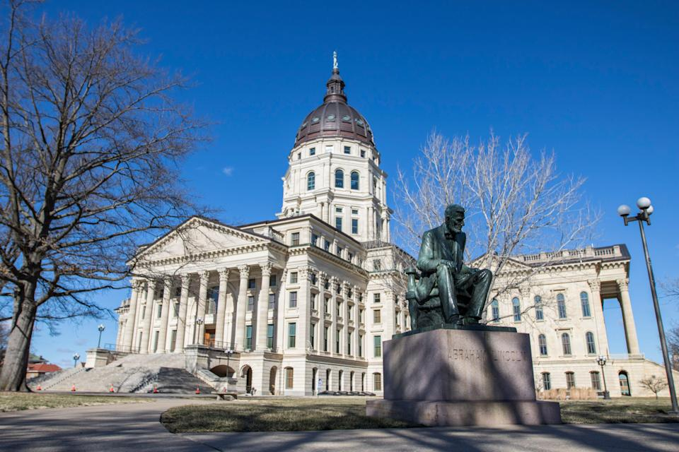 Although officials worried about possible protests and violence at the Kansas statehouse Sunday, Jan. 17, 2021, no one showed up in Topeka, Kan., as of Sunday afternoon.