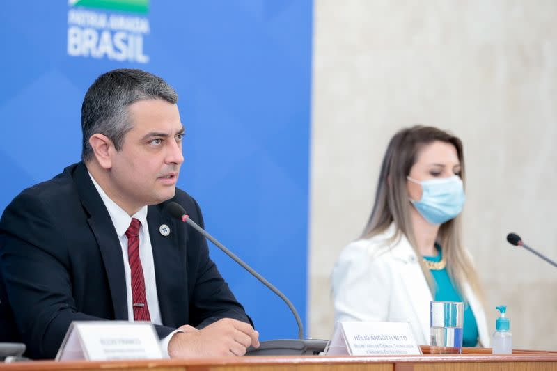 Angotti Neto, chief of the Health Ministry's Science, Technology, Innovation and Strategic Inputs department attends a news conference in Brasilia