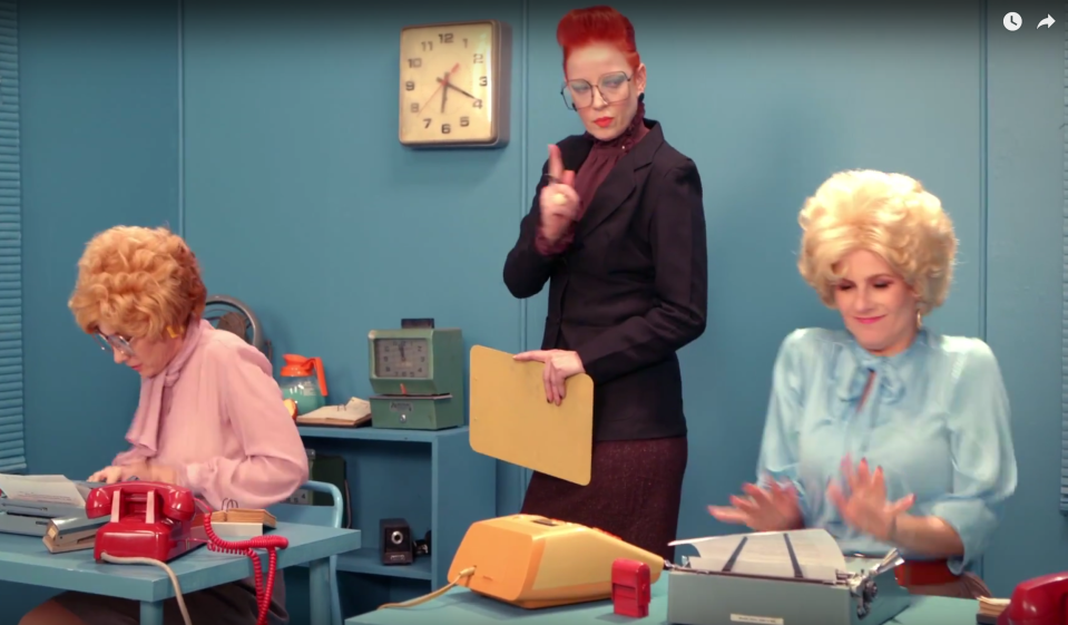 """From left: Kathleen Hanna, Shirley Manson, and Allison Wolfe in Alice Bag's """"77"""" video."""
