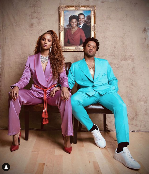 "<p>As Beyoncé and Jay-Z in the ""APES**T"" music video.</p>"